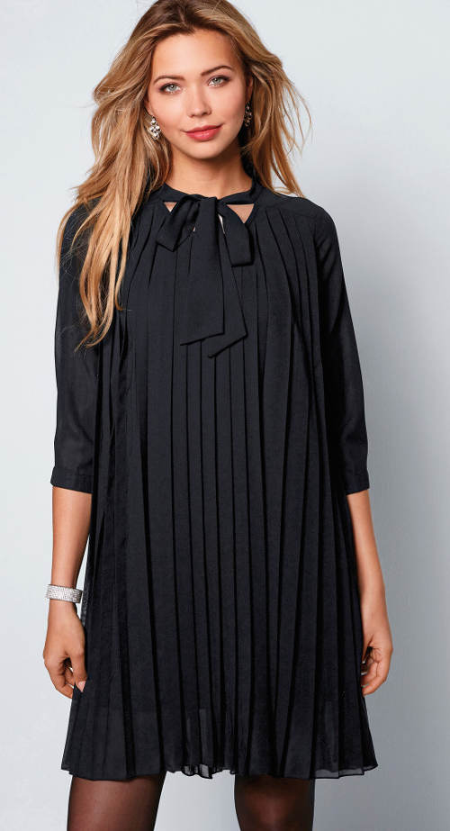 Černé plisované společenské šaty