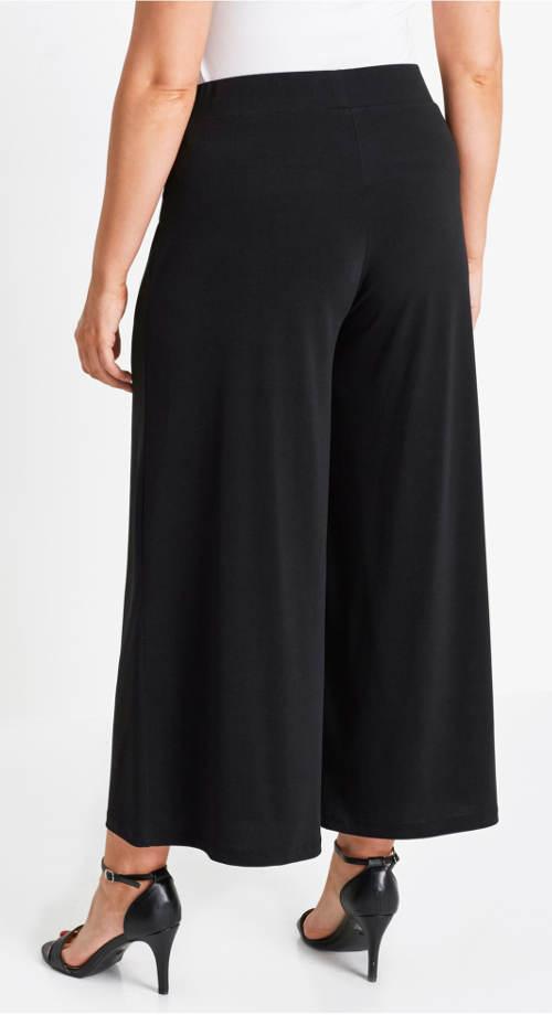 Černé široké kalhoty pro plnoštíhlé