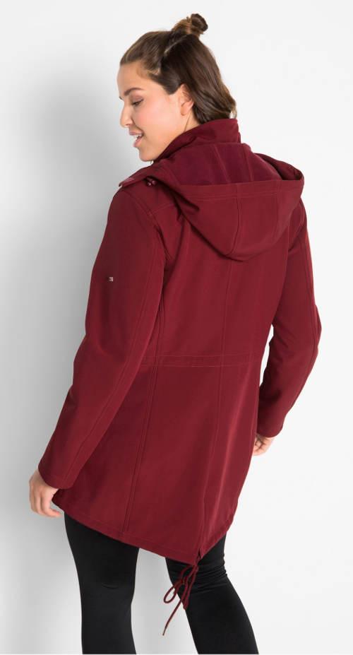 Delší softshellová dámská bunda s kapucí