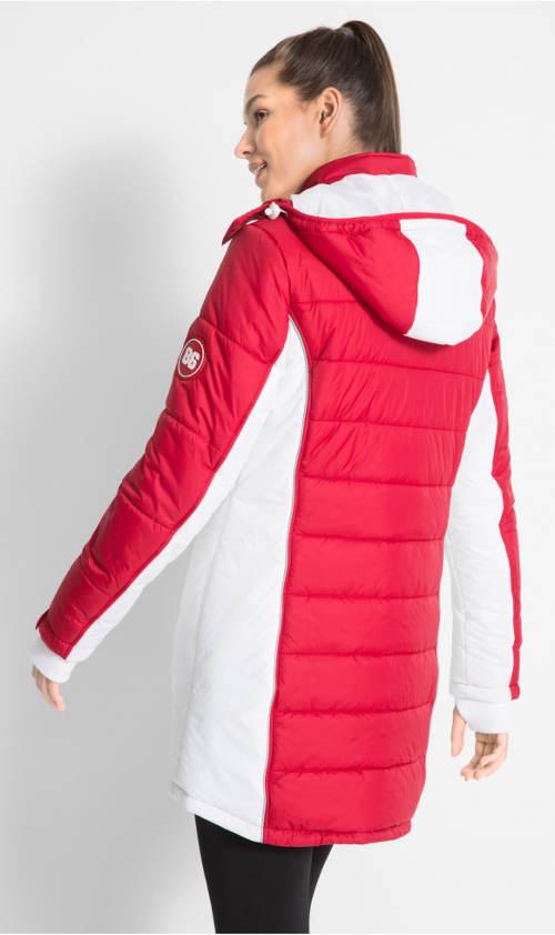 Dlouhá červeno-bílá prošívaná dámská bunda