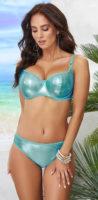 Lesklé tyrkysové dvoudílné plavky pro větší poprsí