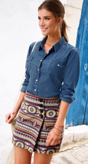 Letní zavinovací sukně s knoflíkovým zapínáním
