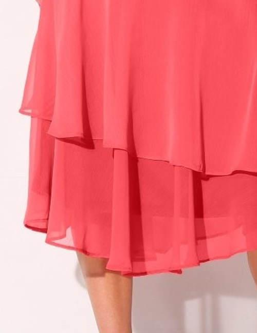 Lososová vrstvená dámská sukně