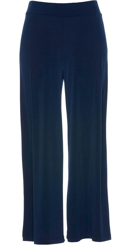Modré kalhoty s volnými širokými nohavicemi