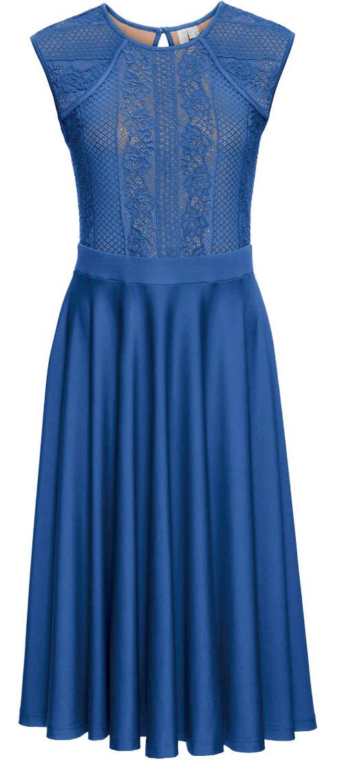 Modré plesové šaty bez rukávů