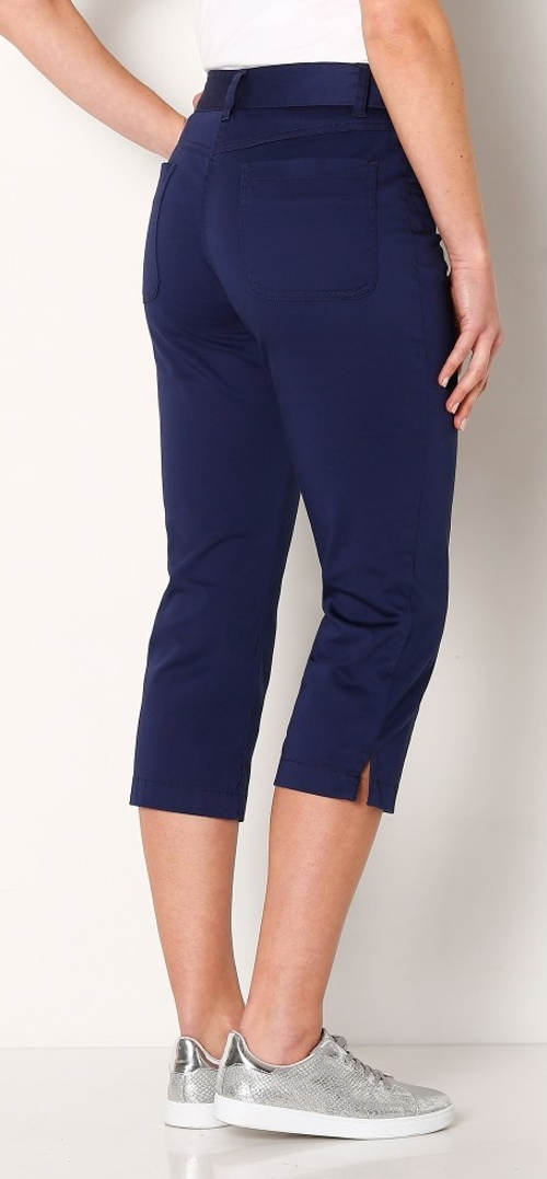 Modré tříčtvrteční dámské kalhoty