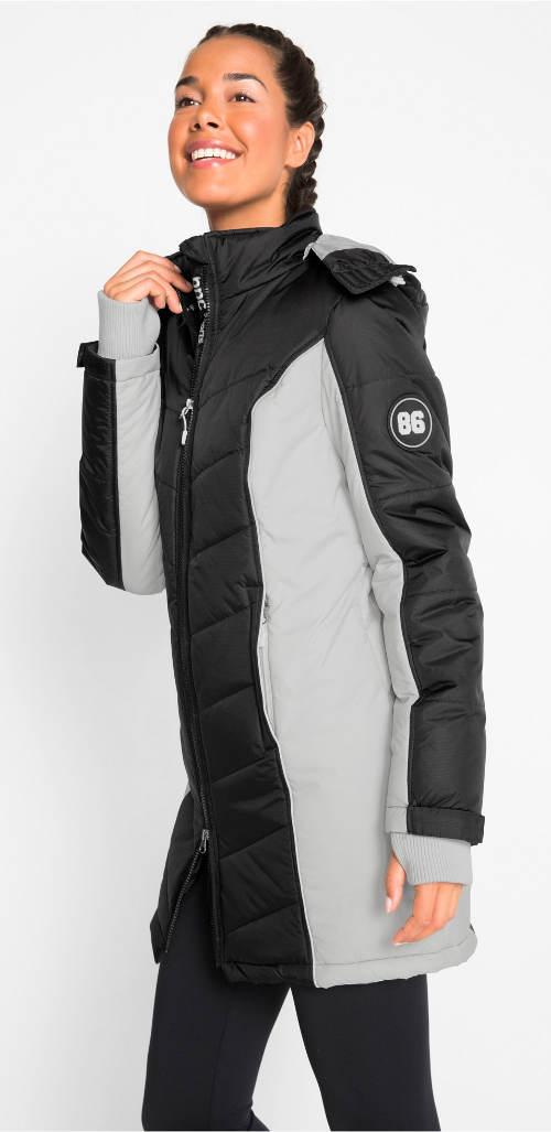 Prodloužená černo-stříbrná zimní bunda