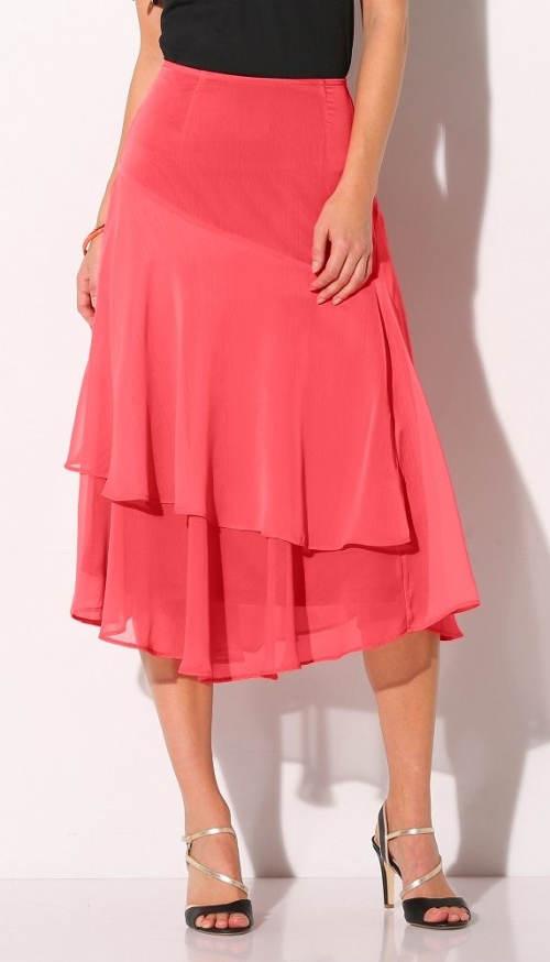 Růžová volánová midi sukně