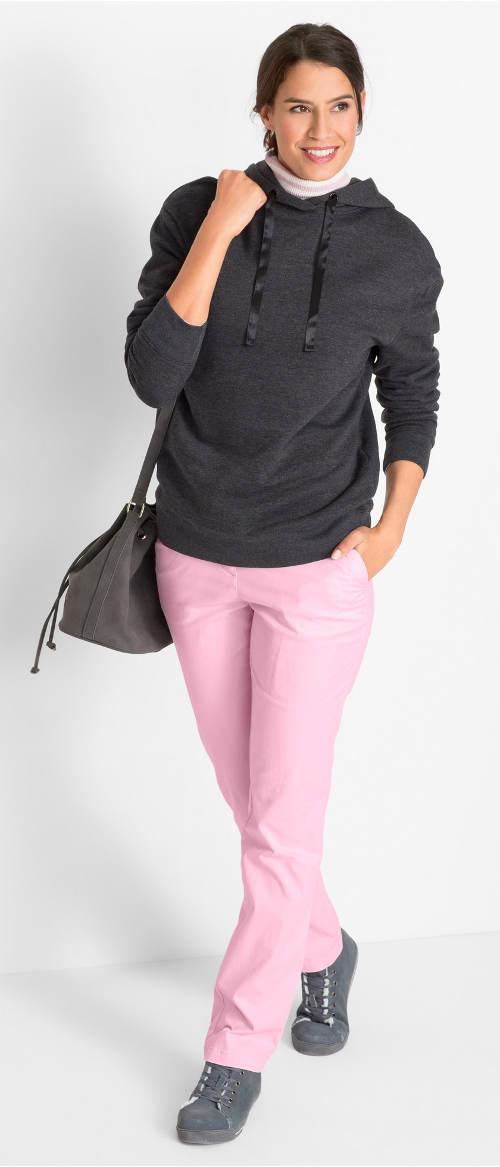 Růžové dámské bavlněné kalhoty