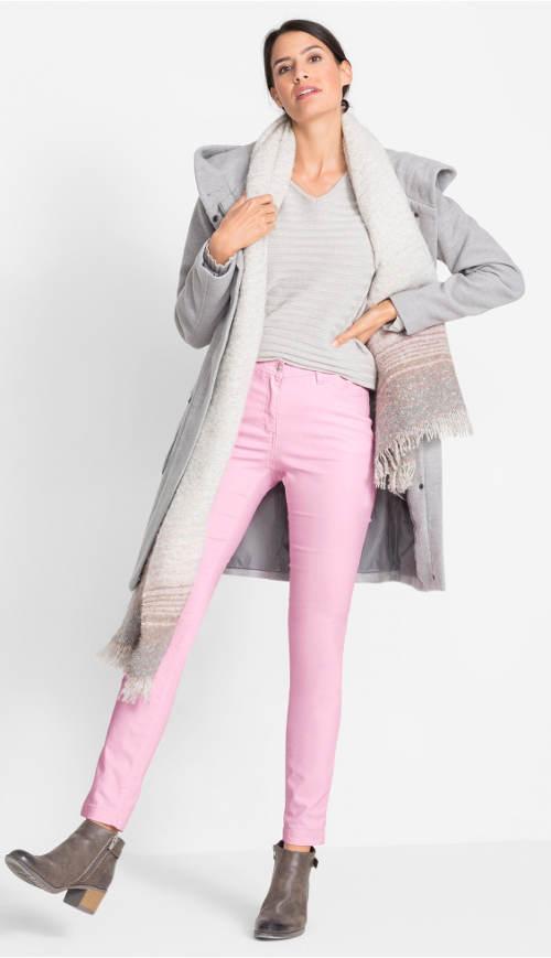 Růžové strečové kalhoty pro plnoštíhlé