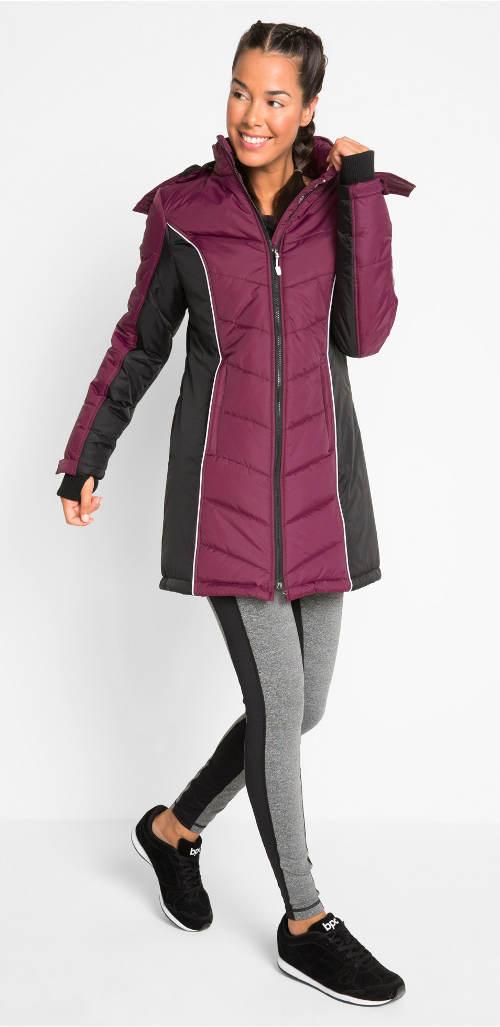 Teplý prošívaný zimní kabát pro plnoštíhlé