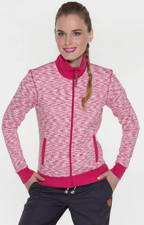 Žíhaná růžová volnočasová dámská mikina