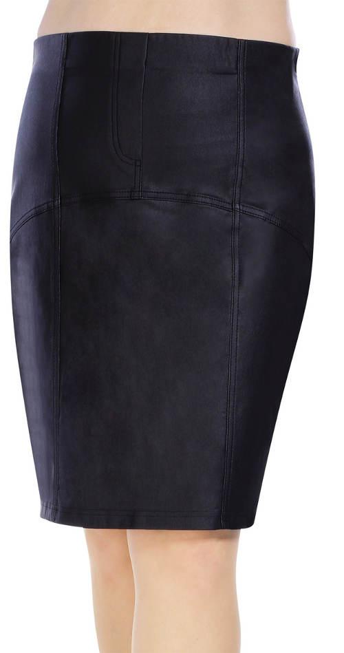 Černá koženková sukně pro plnoštíhlé