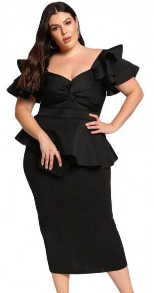 Černé společenské bohatě zdobené midi šaty