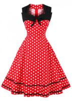 Červené puntíkované letní vintage šaty