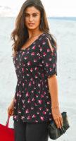 Prodloužené dámské tričko s potiskem květin