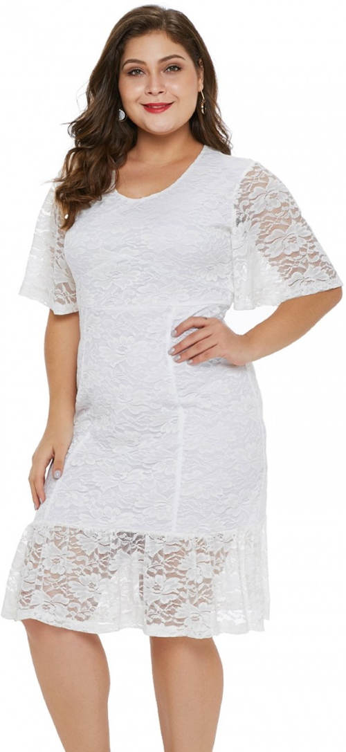 Bílé celokrajkové šaty s krátkými rukávy