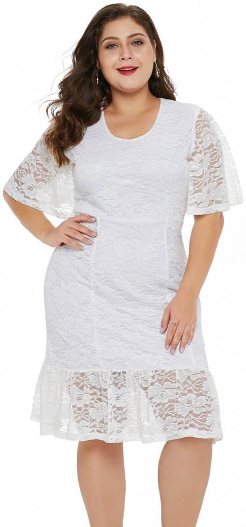 Bílé krajkové plus size šaty Patricia