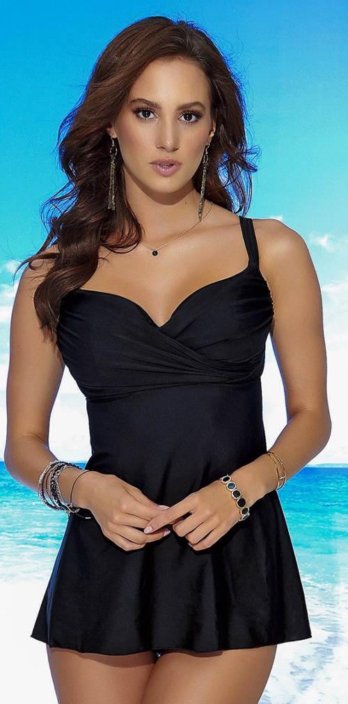 Černé dámské dvoudílné plavky se sukní