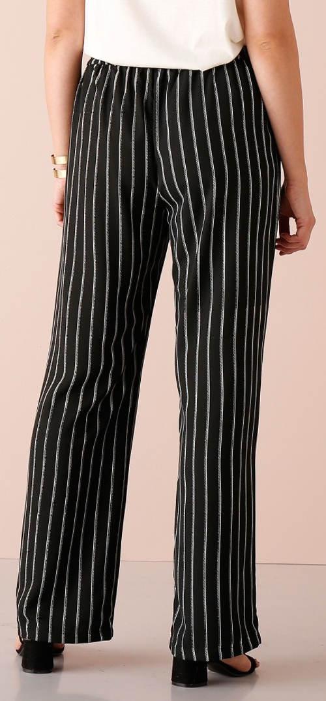 Černobílé pruhované dámské kalhoty