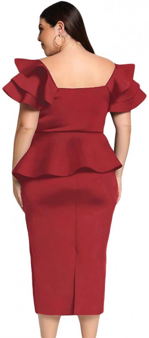 Červené plesové šaty pro baculky