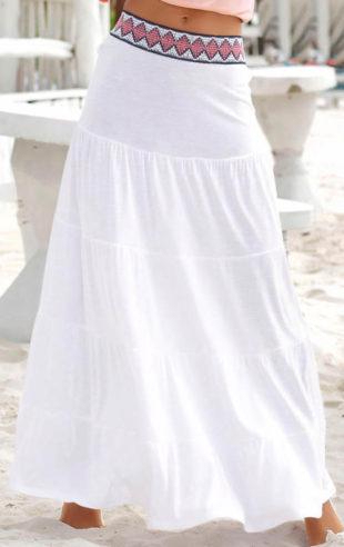 43df533cd814 Dlouhá bílá plážová maxisukně s.Oliver