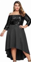Flitrové plesové šaty pro plnoštíhlé s volnou asymetrickou sukní