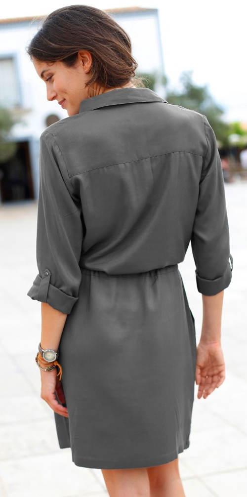 Košilové dámské šaty se stažením v pase