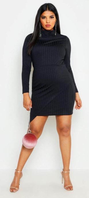 Krásné žebrované mini šaty ke krku