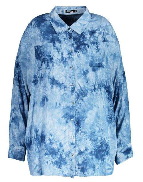 Modrá batikovaná košile s dlouhými rukávy