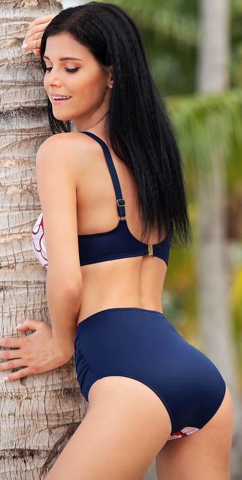 Modré dámské plavky s vysokými kalhotkami