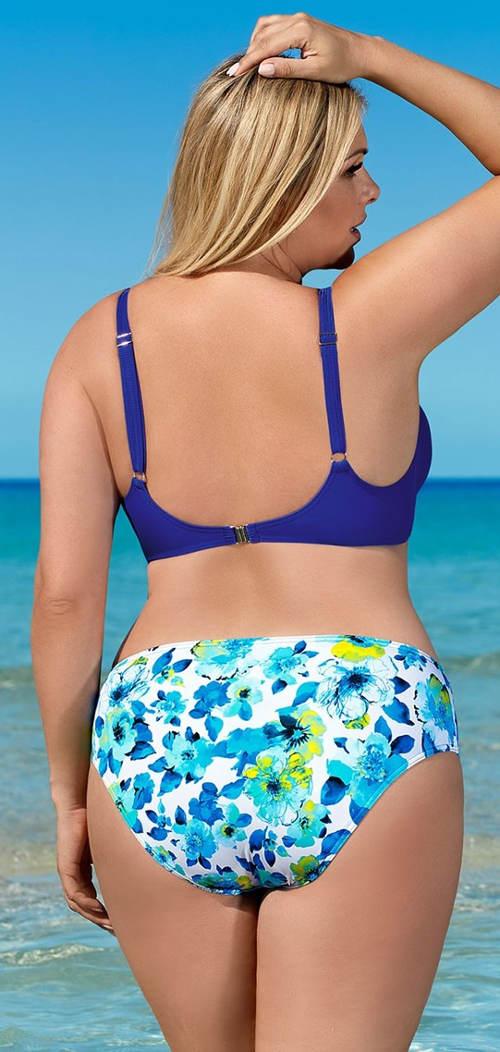 Modré květované plavky pro boubelky