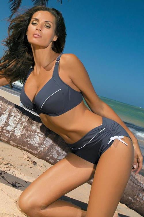 Šedé dvoudílné plavky s variabilními kalhotkami