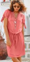 Vzdušné letní růžové šaty s uzlíky na rukávech