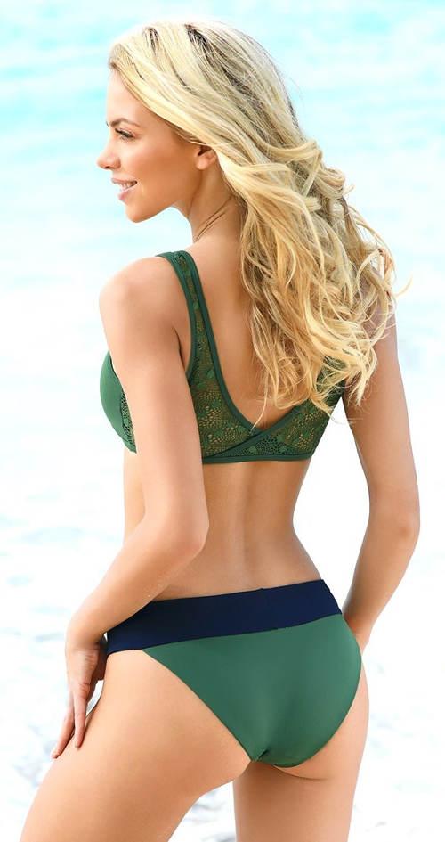 Zelené dvoudílné plavky s krajkovými zády