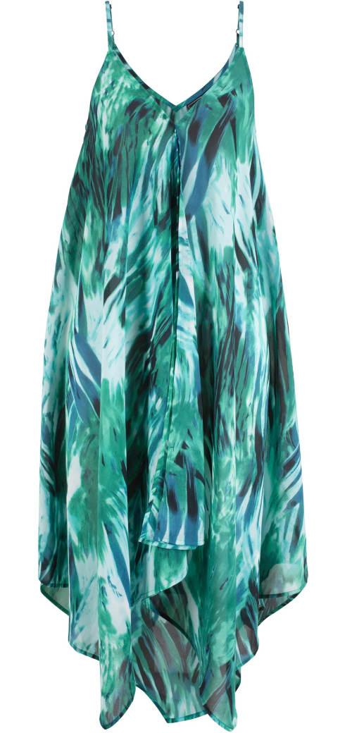 Asymetrické plážové šaty na tenká ramínka
