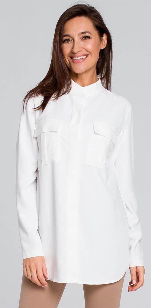 Bílá dámská halenka s náprsními kapsami