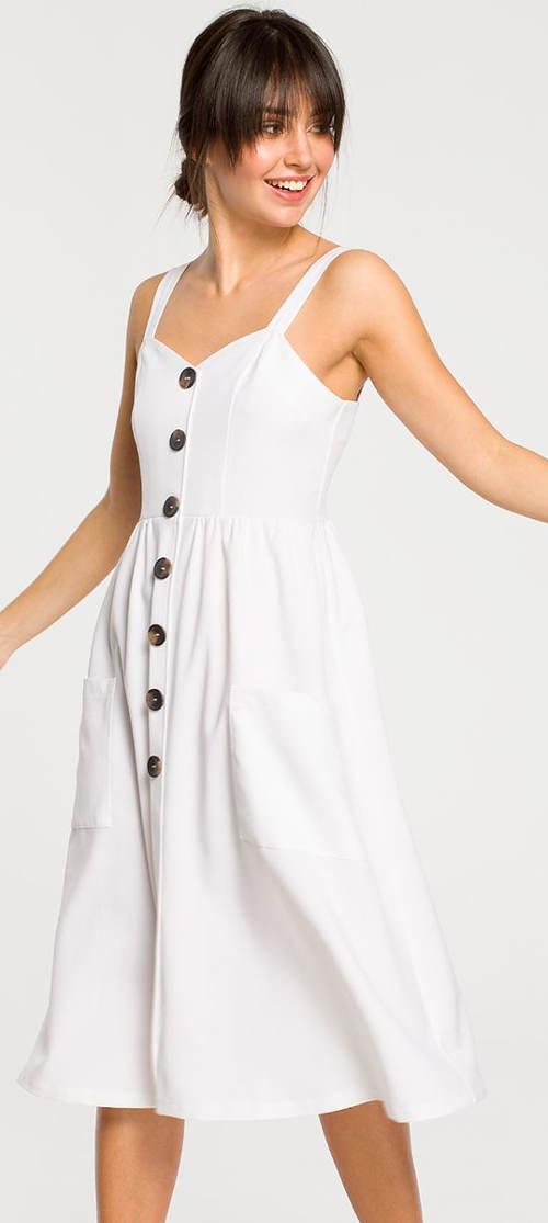 Bílé letní šaty s ozdobnými knoflíky