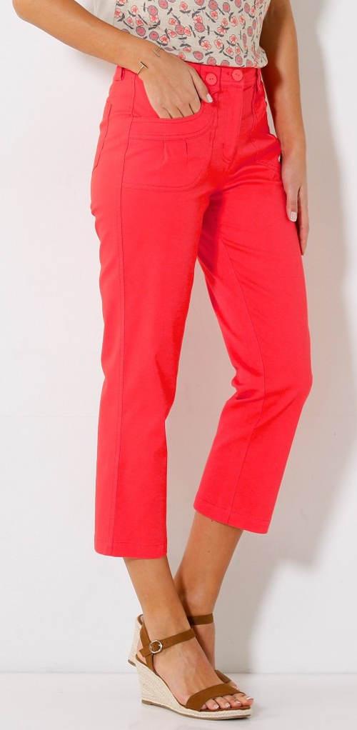 Červené tříčtvrteční dámské kalhoty