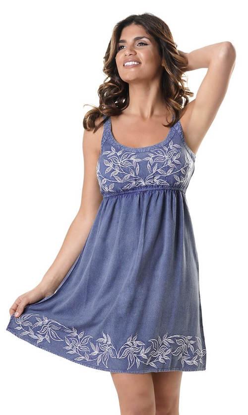 Džínové letní šaty s květinovou výšivkou