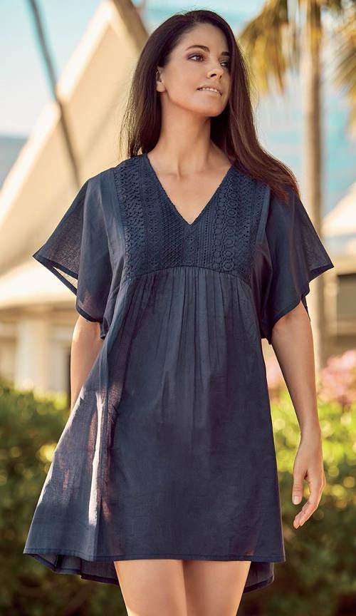 Pohodlné modré plážové šaty z bavlny