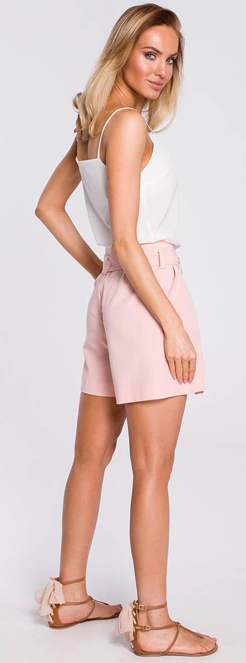 Růžové dámské sukňové šortky