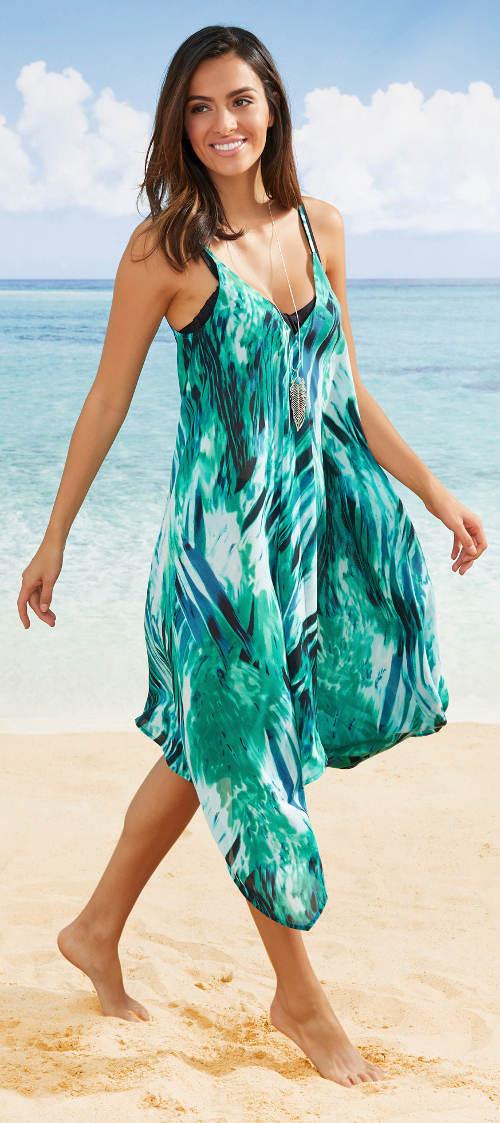 Zelené plážové šaty k moři