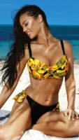 Žluto-černé dvoudílné plavky Dolores pro velká prsa