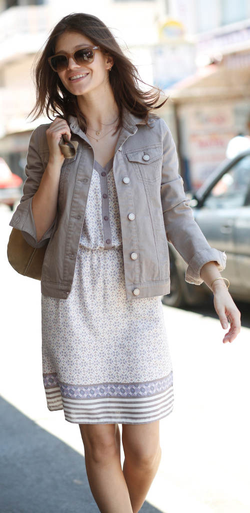 Béžová riflová dámská bunda