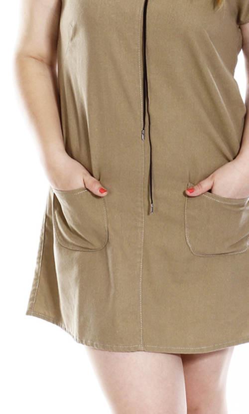 Béžové lněné šaty s kapsami
