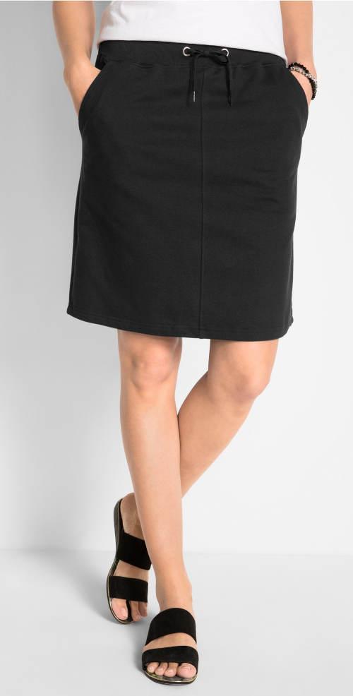 Černá tepláková sukně s kapsami