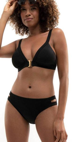 Černé dámské dvoudílné plavky s nevyztuženými košíčky