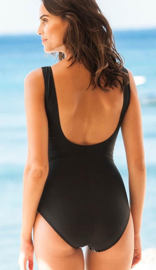 Černé dámské plavky zeštíhlující postavu