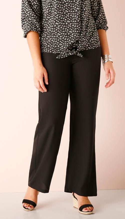 Černé společenské krepové kalhoty se širší nohavicí
